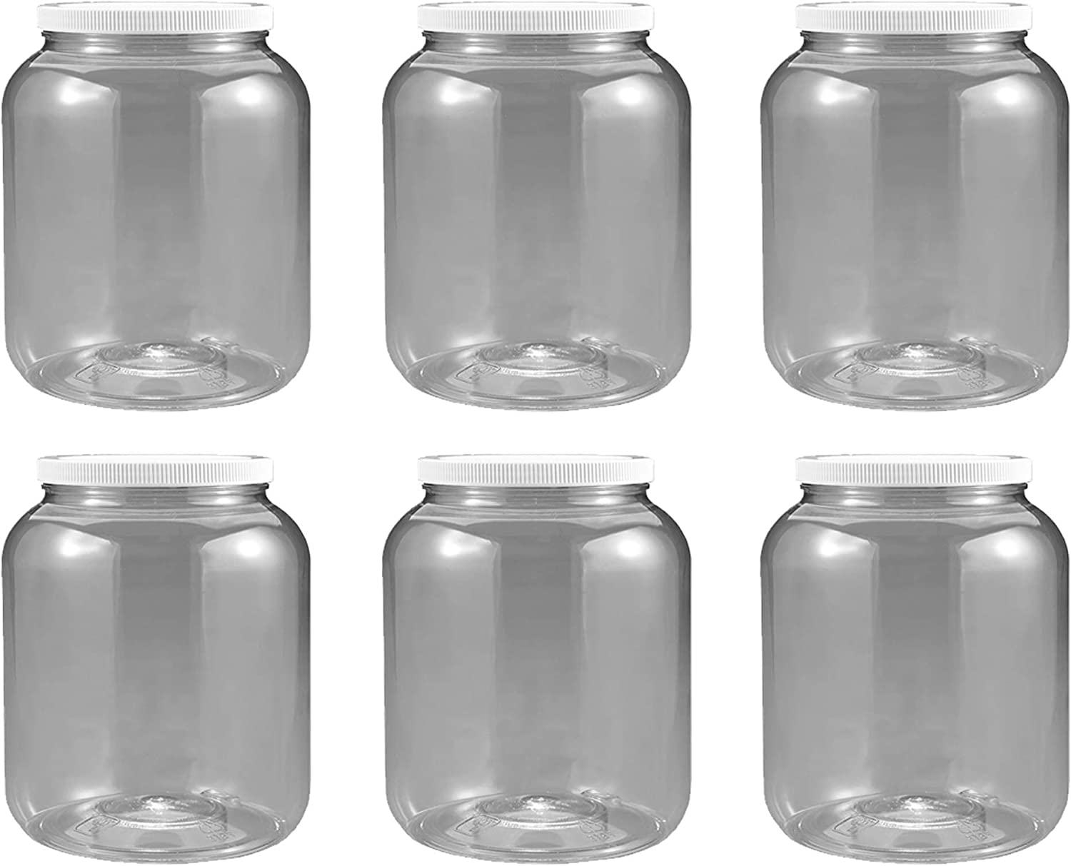 6 pack 1/2 Gallon 2 Quart Plastic Wide Mouth Jar with Pressurized Seal White screw on cap lid and Container Shatter-Proof BEST American BPA Free crystal clear PET (6)