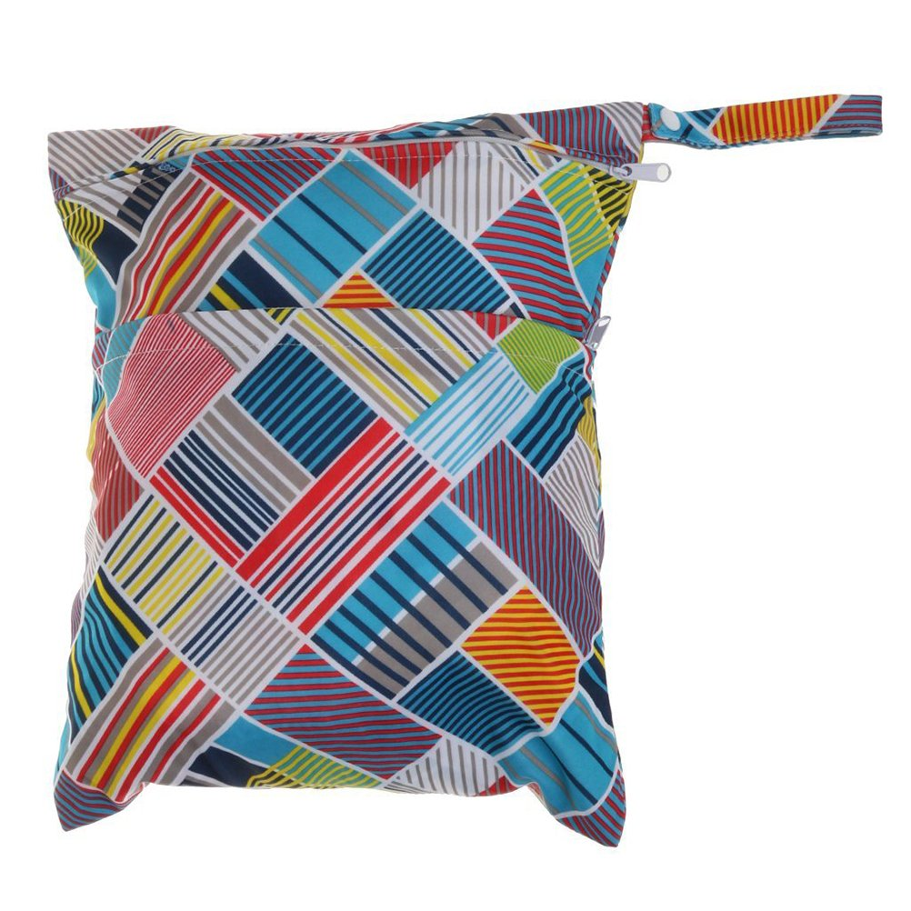OULII Couche-culotte sac étanche de langes pour bébés bébé sec humide Resuable couche-culotte pochette avec fermeture-éclair double Rainbow (vague colorée)