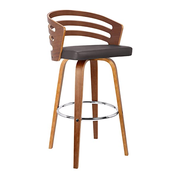 "Armen Living LCJYBABRWA30 Jayden Mid-Century Swivel Bar Height Barstool, 30"", Brown"