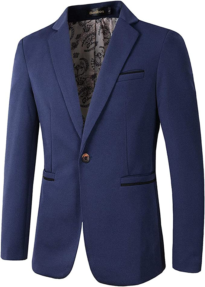 Beninos Men's Slim Fit Casual 1 Button Blazer
