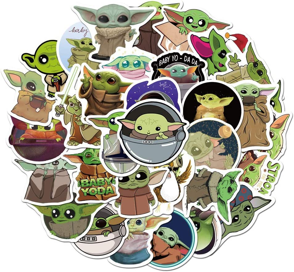 Includes The Mandalorian Sticker with Yoda Baby 100Pcs Baby Yoda Stickers