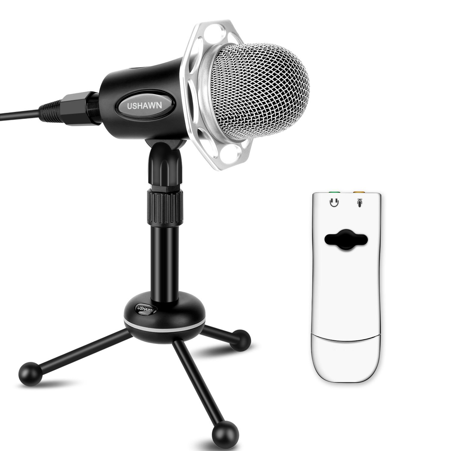 USHAWN Recording Microphone for Mac with 3D External Sound Card and Tabletop Adjustable Desk Stand(Black)