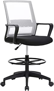 Drafting Chair Tall Office Chair Computer Chair Adjustable Height with Lumbar Support Arms Footrest Task Desk Chair Swivel Rolling Mesh Drafting Stool for Adults Women Girls(White)