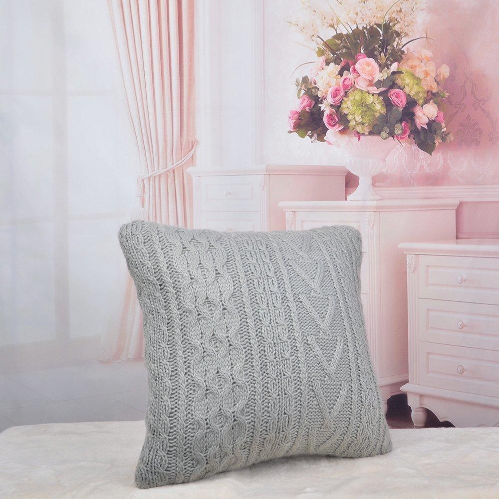 King rosa decorativa cable Knit funda para cojín Home sofá cama ...