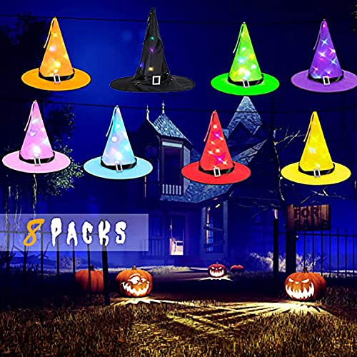 LED Witch Hat Decorations Halloween – 8 Pack Hanging Light Up Glowing Witches Hats Decorating for Outdoor,Indoor, Yard, Tree