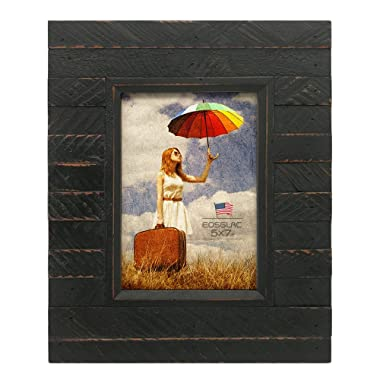 EosGlac Black 5x7 inch Rustic Picture Frames - Handmade Wooden Plank Photo Frame for Tabletop or Wall Mounting Vertically or Horizontally with Glass Front