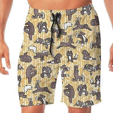 Huabuqi Pantalones Cortos para Hombres Tabla de Yoga En el ...