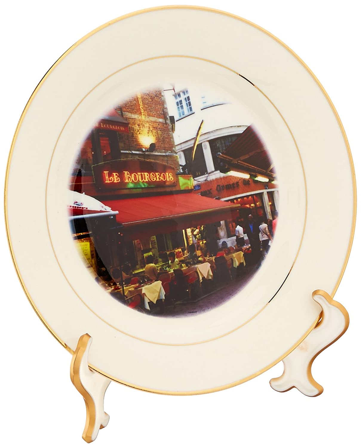 8-Inch 3dRose cp/_38337/_1 Nightlife in Brussels Which is Known To be The Center of Europe Porcelain Plate