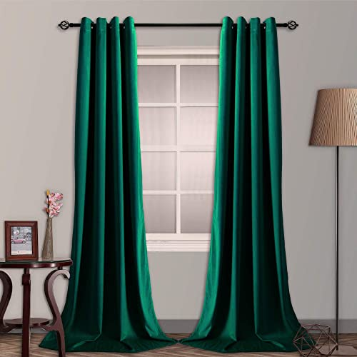 SNITIE Emerald Green Velvet Blackout Curtain
