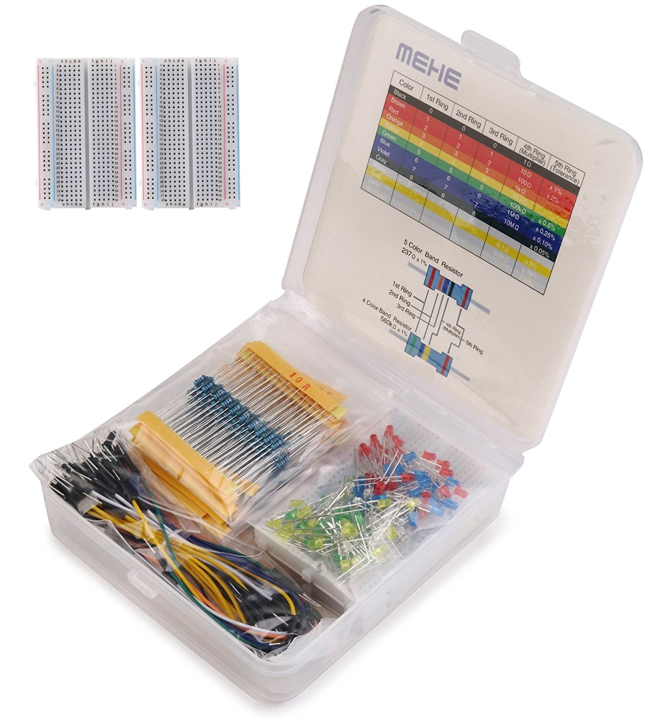 MEHE Basic Starter Kit, Values Resistor Kit Assortment 4 in 1 Electronics Components,Breadboard,Color LED,Jumper Wires for Arduino,Raspberry Pi