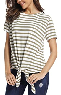 9dff805f3e SINRGAN Women s Short Sleeve Tie Front Knot Striped Casual Loose Fit Tee T- Shirt