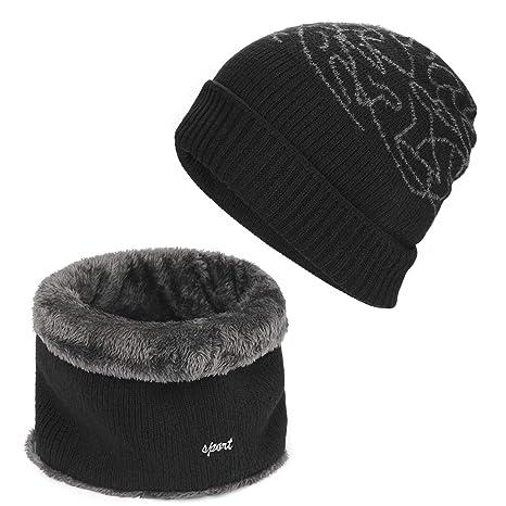 AYPOW Écharpe 2-en-1 d hiver Winter, Chapeaux de Bonnet Jacquard ... f2cb3b6043d