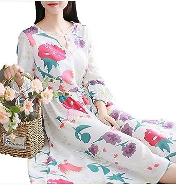 b9ceea0be6d Small-shop Women Dress Long Sleeve Casual Loose Long Dress Vintage Print  Dresses