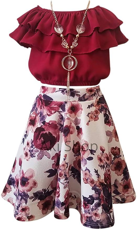 Amazon.com: Conjunto de falda de hombro frío con volantes en ...