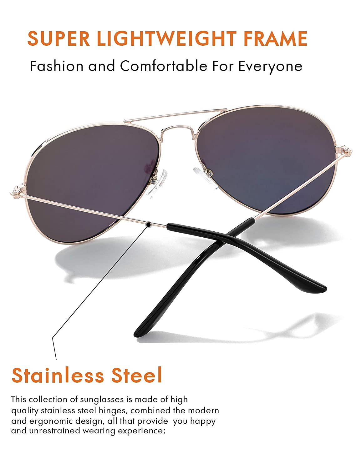58MM Mirrored Aviator Sunglasses for Women Polarized Vintage Mens Shades Classic Eyewear UV Protection with Case