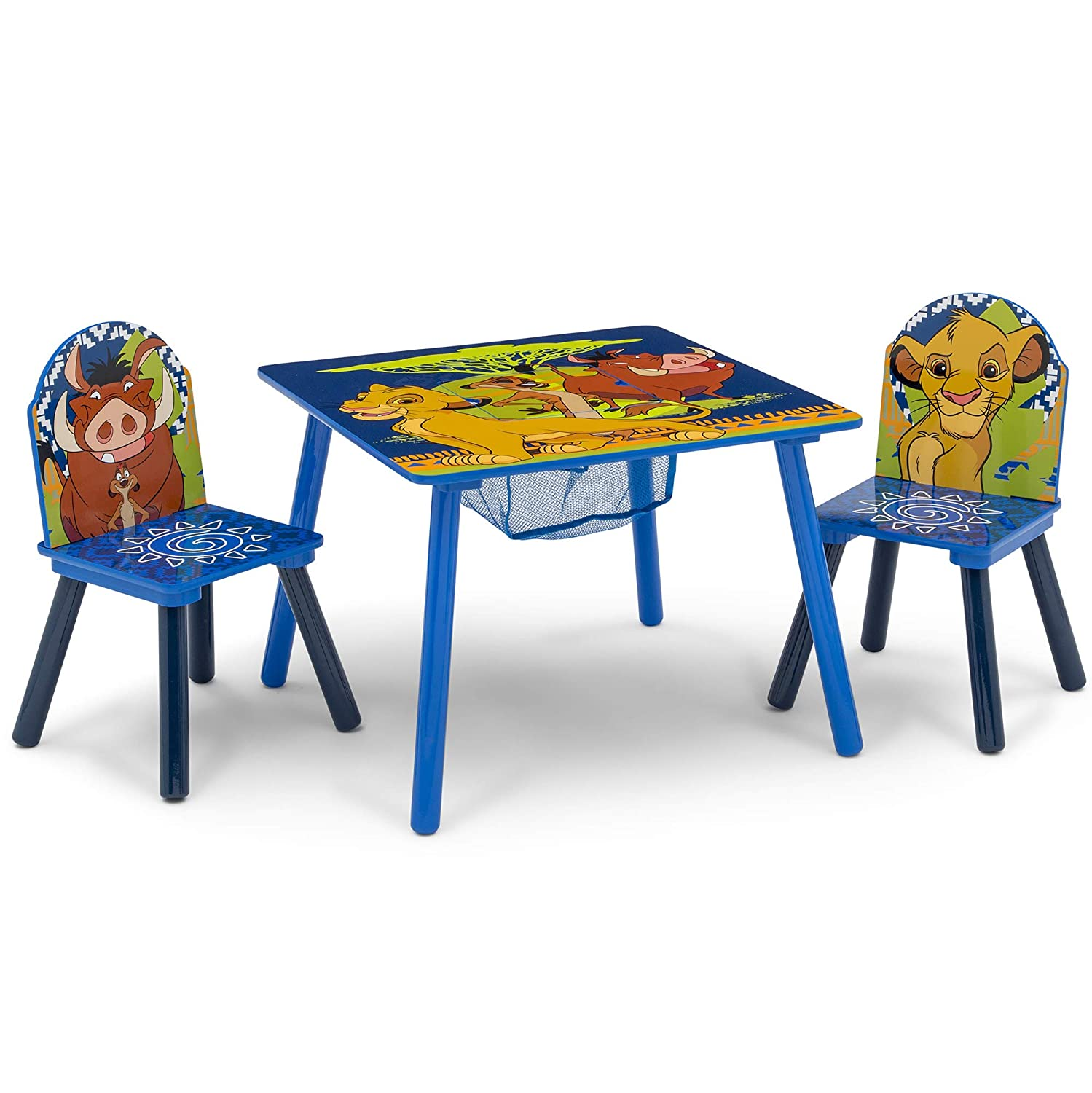 Delta Children Kids Table and Chair Set With Storage (2 Chairs Included) - Ideal for Arts & Crafts, Snack Time, Homeschooling, Homework & More, Disney The Lion King