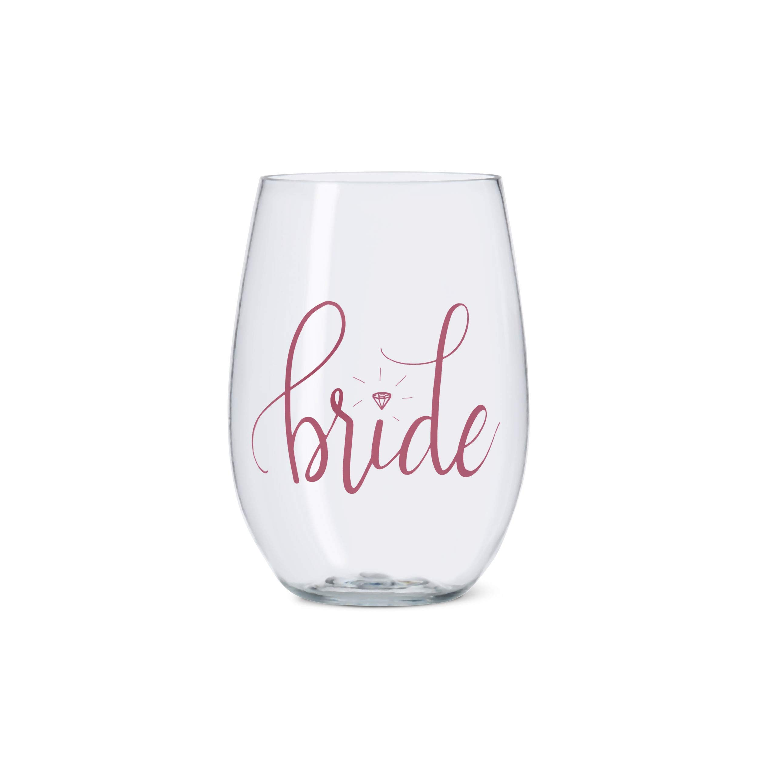 11 Piece Set of Pink Bride Tribe Durable Plastic Stemless Wine Glasses for Bachelorette Parties, Weddings and Bridal Showers by Samantha Margaret (Image #4)