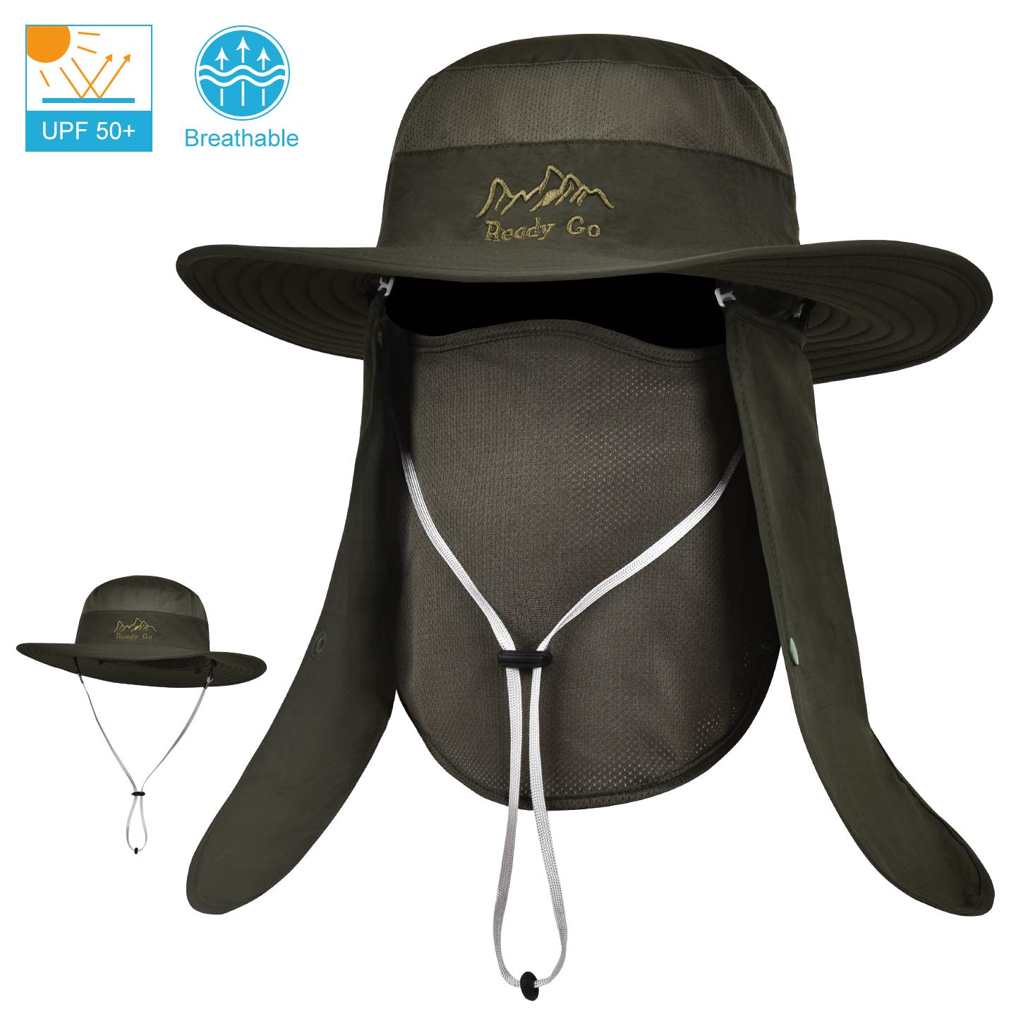 38ea19b4e LCZTN Outdoor Sun Cap for Men & Women Breathable Wide Brim Fishing Hat UPF  50+ UV Protection with Removable Face & Neck Flap for Backpacking Hiking ...