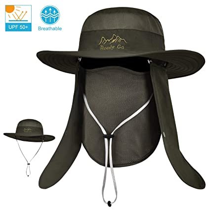 fe908d02e64ee LCZTN Outdoor Sun Cap for Men   Women Breathable Wide Brim Fishing Hat UPF  50+ UV Protection with Removable Face   Neck Flap for Backpacking Hiking  Travel ...
