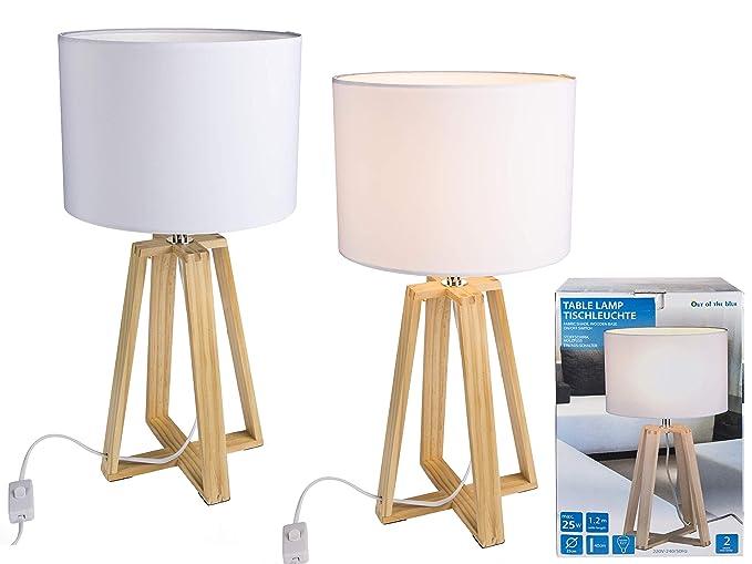 Out of the Blue 571286, lámpara de mesa con pies de madera ...