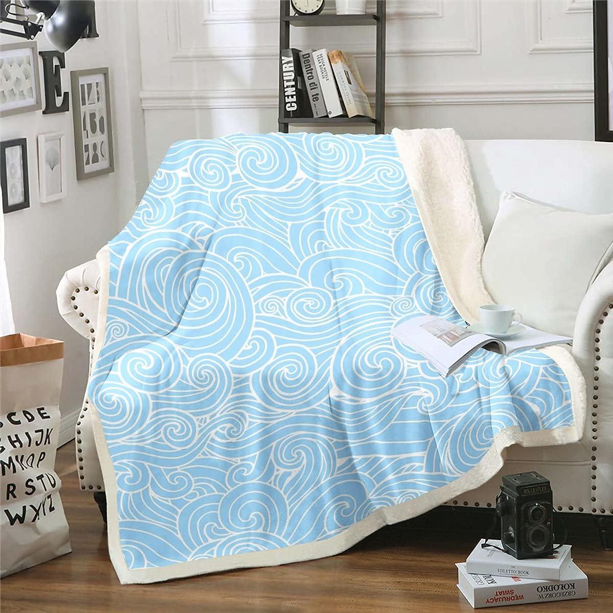 Erosebridal Ocean Wave Sherpa Blanket Iapanese Style Fleece Blanket Lines Blanket Throw for Kids Boys Girls Abstract Art Fuzzy Blanket Sofa Decor Bedroom Decor 30