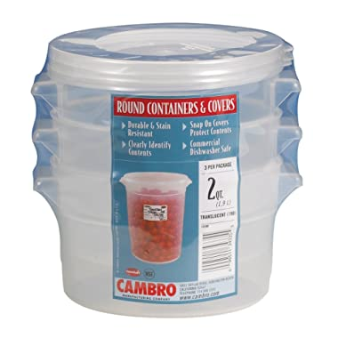 Cambro RFS2PPSW3190 2-Quart Round Food-Storage Container with Lid, Set of 3