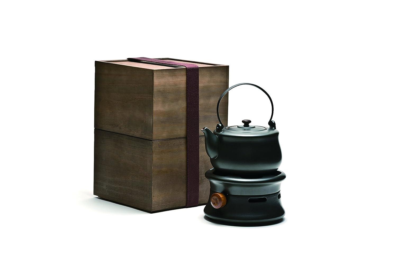 TEA SOUL Tetera de estudio de cerámica Lin y juego de estufa de gas ajustable, negro, 1,7 litros.: Amazon.es: Hogar