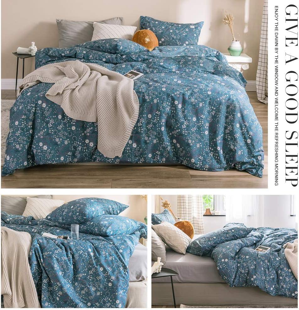 HIGHBUY Geometric Bedding Soft Cotton Comforter Cover King Boys Men Reversible Duvet Cover Set Grey White Cotton Kids Bedding Sets with 2 Pillow Shams,Grids Duvet Cover King