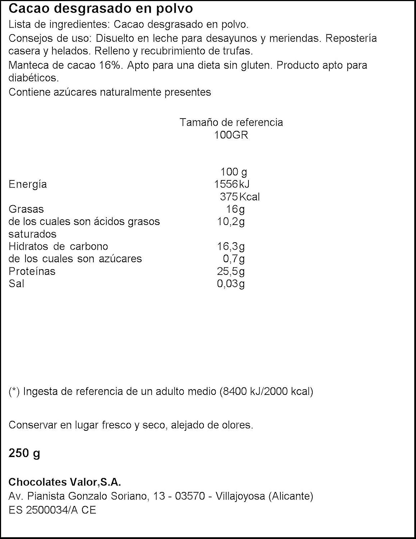 Chocolates Valor Cacao Puro en Polvo Desgrasado - 250 g ...