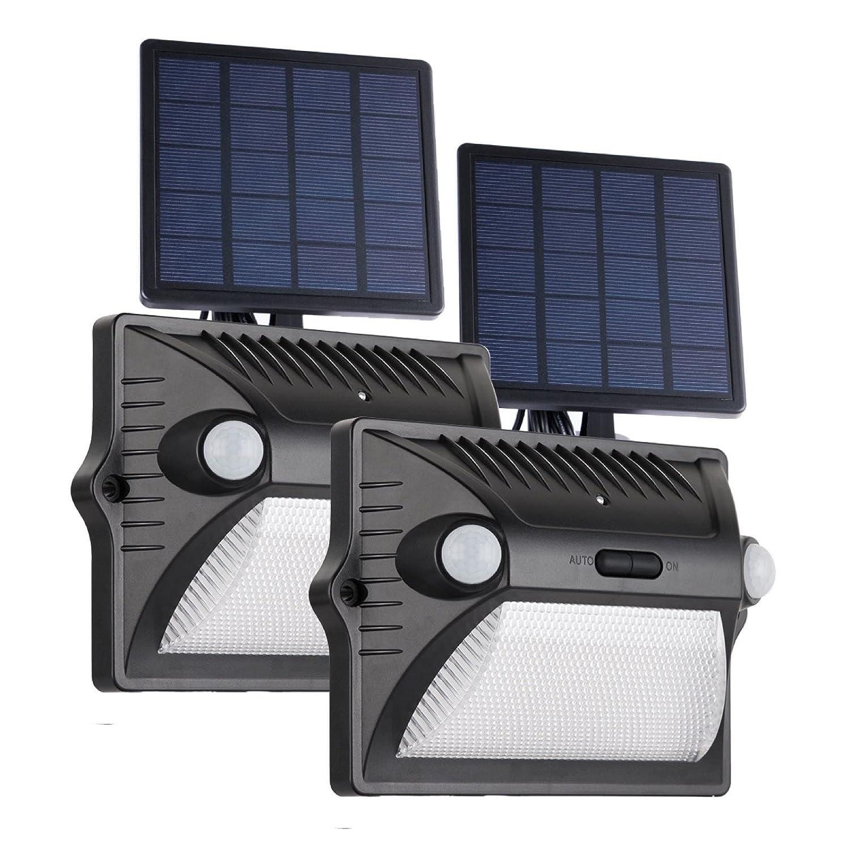 ソーラーライト屋外モーションセンサー防水ワイヤレスセキュリティポーチライトの色変更デュアルモーションセンサー180 °角度、調節可能なソーラーパネル簡単インストールWallmount Pathway Garden Yard, ホワイト B07C8KTBDN 19662