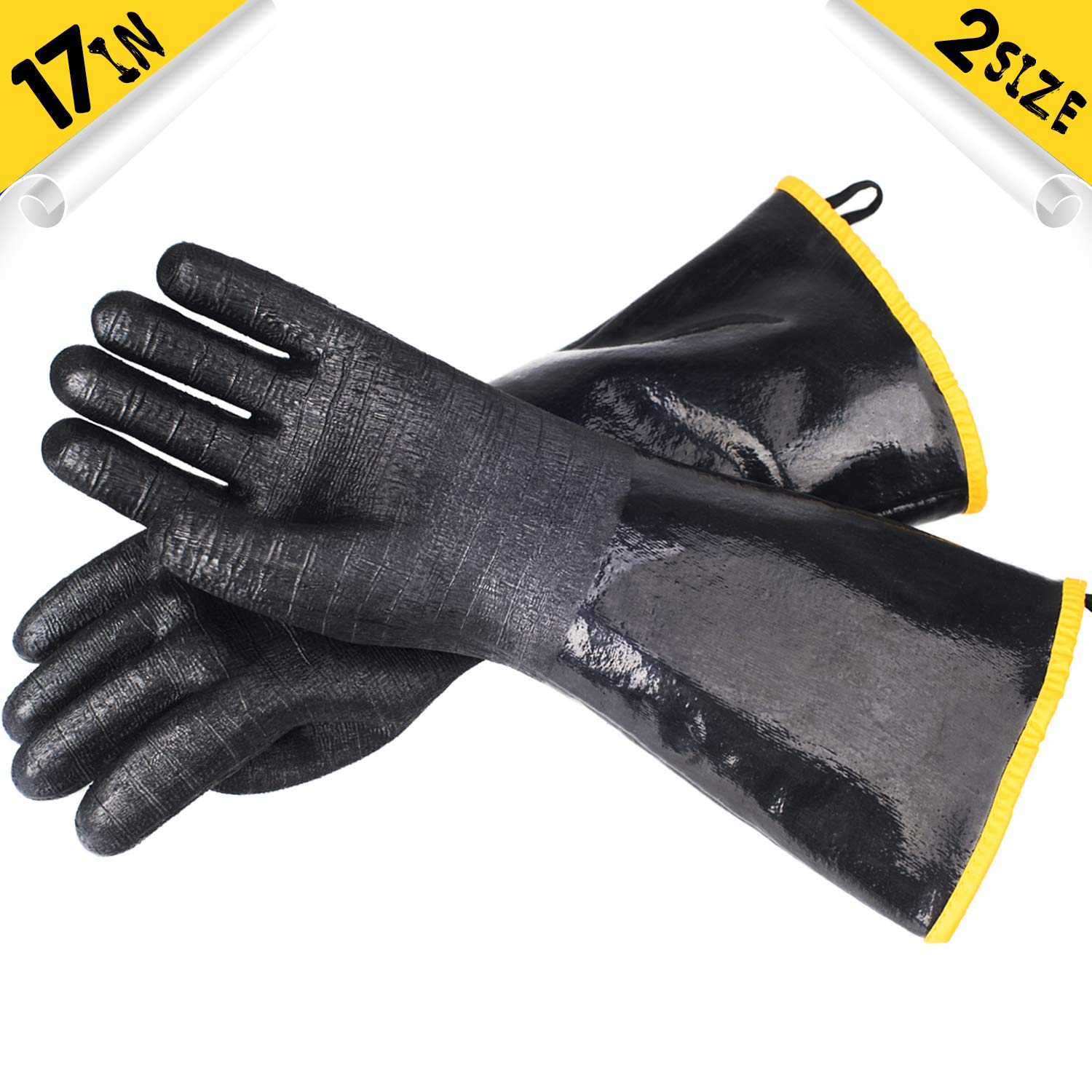 ASHLEYRIVER BBQ Grill Insulated Waterproof/Oil Heat Resistant Neoprene Coating Gloves for Barbecue/Grill/Smoker/Fry Turkey/Pot Holder/Oven mitt/Baking, Long Sleeve(17-Inch L)