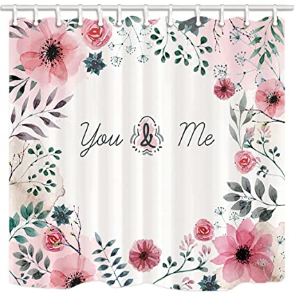 GoEoo Valentines Day Shower Curtain All Sorts Of Flowers Surround Love For Seasons Bathroom Mildew