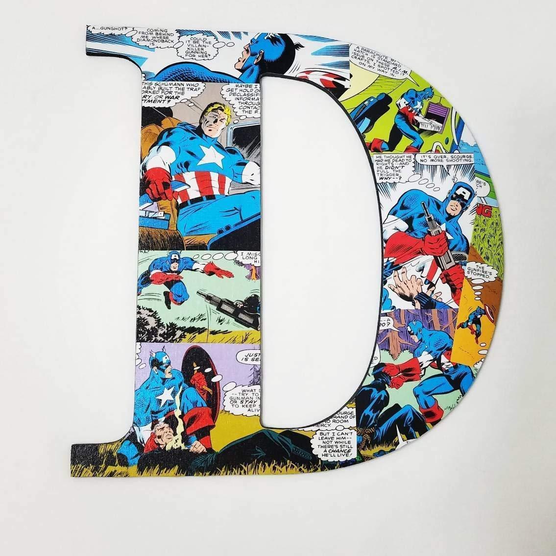 Amazon Com 9 5 Inch Captain America Wall Letters Nursery Letters Superhero Decor Superheros Comic Book Decor Kids Room Wooden Letter Custom Names Boys Handmade