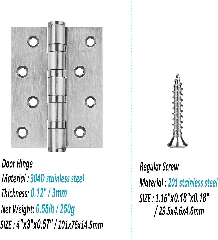 capacidad carga de 50 kg por bisagra 32 tornillos Bisagra puerta acero inoxidable 304 /ángulo de apertura de 305 grados resistente a la corrosi/ón 8 orificios de fijaci/ón superficie cepillada