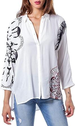Desigual 19wwcw25 - Camisa de manga larga para mujer Blanco S: Amazon.es: Ropa y accesorios