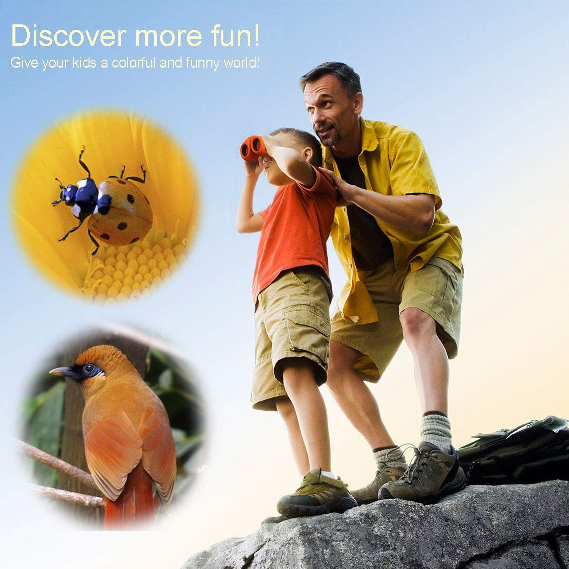 Happy Gift Toys for 3-12 Year Old Girls, Walkie Talkies for Kids Toys for 3-12 Year Old Boys Mini BinocularsToys Gifts for Teen Boys Gifts for Teen Girls Birthday Gifts,1Set(Orange) by Happy Gift (Image #3)