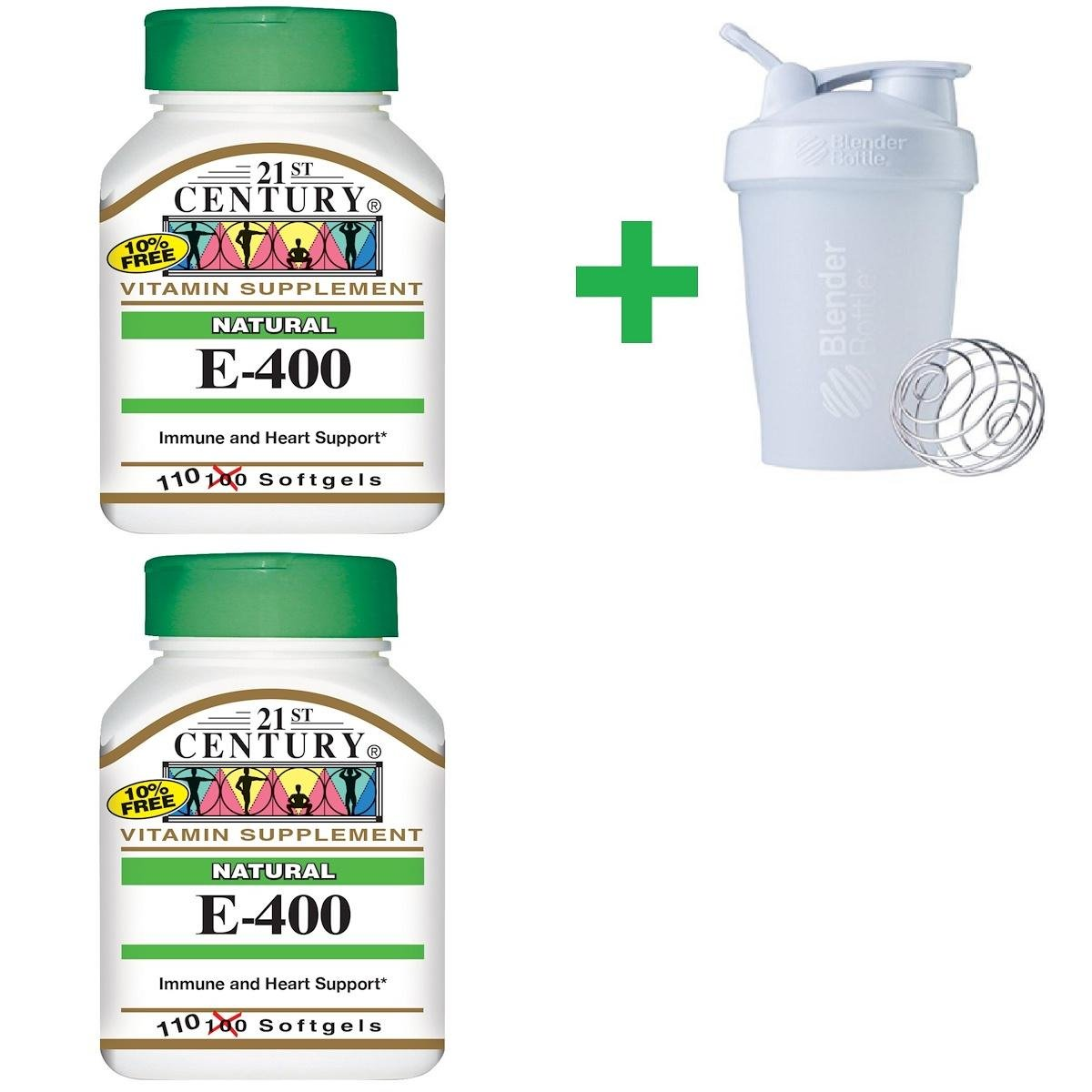 21st Century, E-400, Natural, 110 Softgels (2 Packs) + Assorted Sundesa, BlenderBottle, Classic With Loop, 20 oz