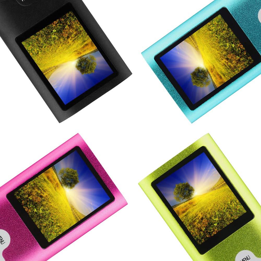 Btopllc Reproductor de MP3 Reproductor de MP4 Reproductor de m/úsica Digital Tarjeta de Memoria Interna de 16GB Reproductor de m/úsica port/átil//Compacto MP3//MP4//Reproductor de Video Azul+Blanco