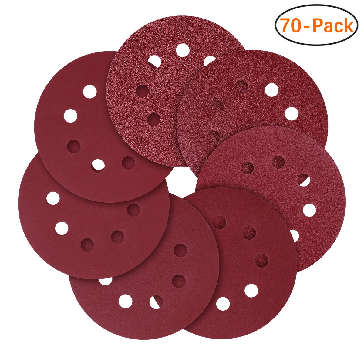 5-Inch 8-Hole Hook and Loop Sanding Discs, 40/80/120/240/320/600/800 Assorted Grits Sandpaper - Pack of 70