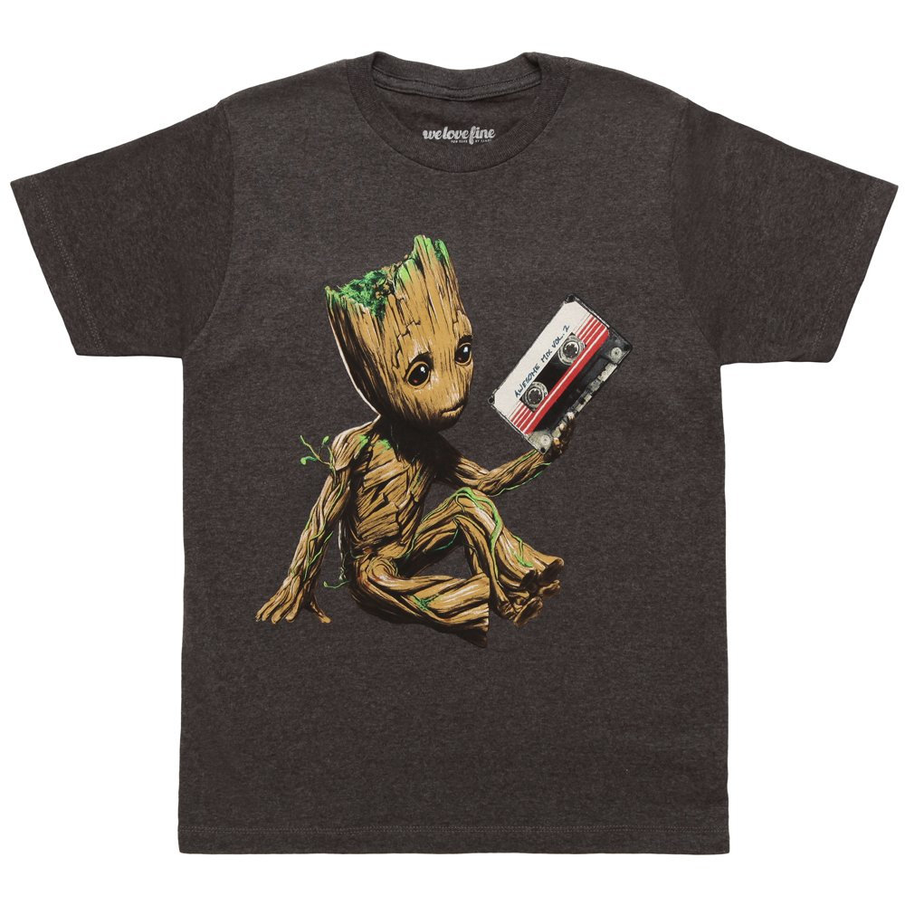 Guardians of the Galaxy Vol. 2 Groot Tape Adult T-shirt (XXX-Large, Charcoal)