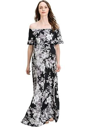 cf22f7ea433 Hello MIZ Women s Ruffle Off The Shoulder Maxi Maternity Dress - Made in  USA (Black