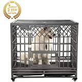 SMONTER Heavy Duty Dog Crate Strong Metal Pet Kennel Playpen with Two Prevent Escape Lock, Large Dogs Cage with Wheels, Y Shape, Dark Silver …