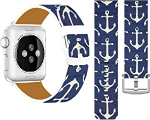 Bands Compatible with Iwatch 38mm/40mm & Cisland Leather Strap Compatible with Apple Watch Series 1/2/3/4/5/6/SE Sport & Edition Anchor Pattern