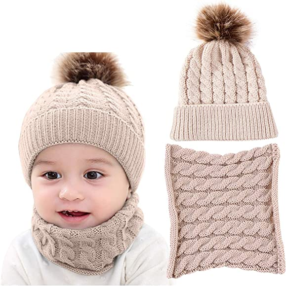 7adf0933f62773 DRESHOW BQUBO 2 Pack Baby Winter Knit Hat Toddler Crochet Hat with Necklace  Children抯