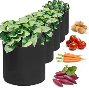 KINGSO 5Pcs Grow Bags 20Gallon Plant Grow Bags, Heavy Duty Thickened Nonwoven Plant Fabric Pots with Handles for Patio, Terrace, Courtyard, Garden (5Pack 30x55cm)