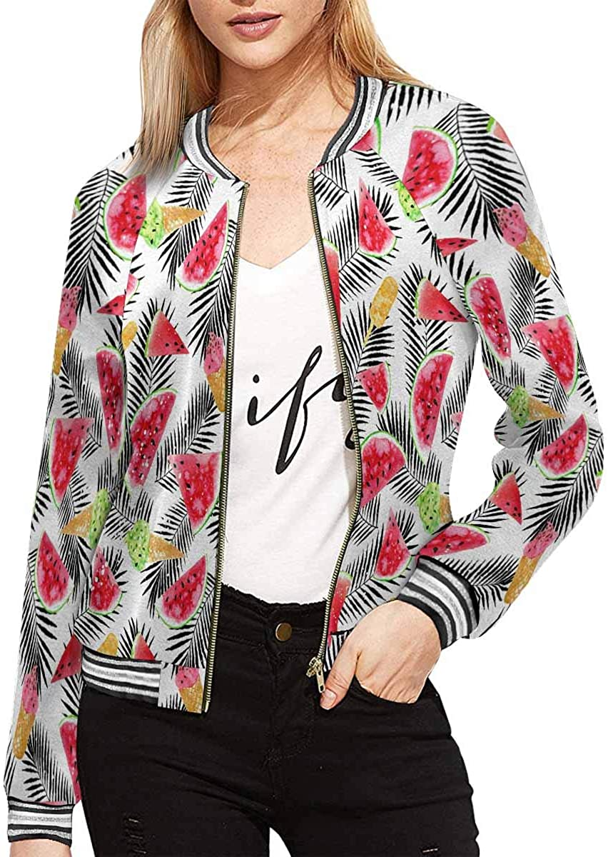 INTERESTPRINT The Puppy Collie Rides in The Basket on The Bike Womens Zip Up Baseball Jacket