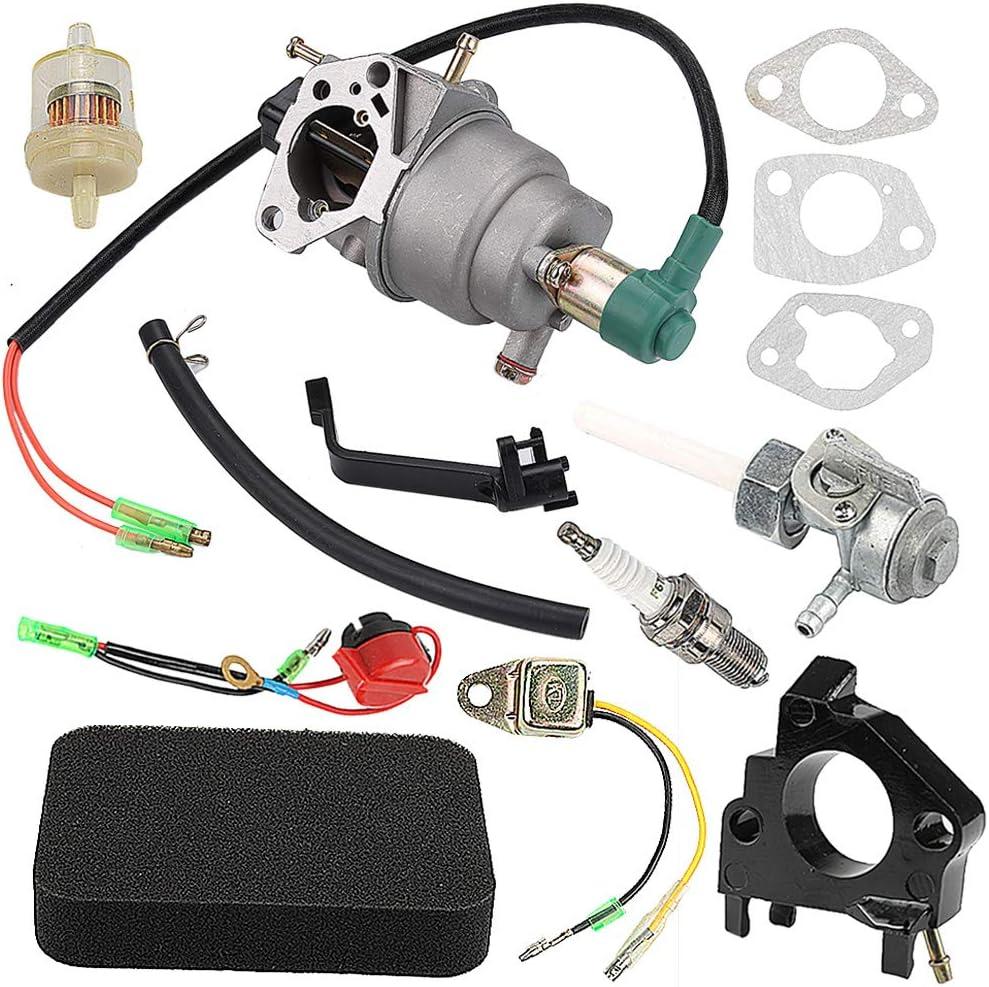 Harbot GP5500 Carburetor for Generac GP5000 GP6500 GP6500E 5KW 5.5KW 6.5KW 389cc Generator 0G8442A111 with Air Fuel Filter Shutoff Valve