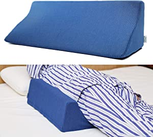 Fanwer Bed Wedge Pillow for Sleeping Body Position Wedges Back Positioning Elevation Pillows Blue Pray Case Pregnancy Bedroom Eevated Body Alignment Ankle Support Pillow Leg Bolster