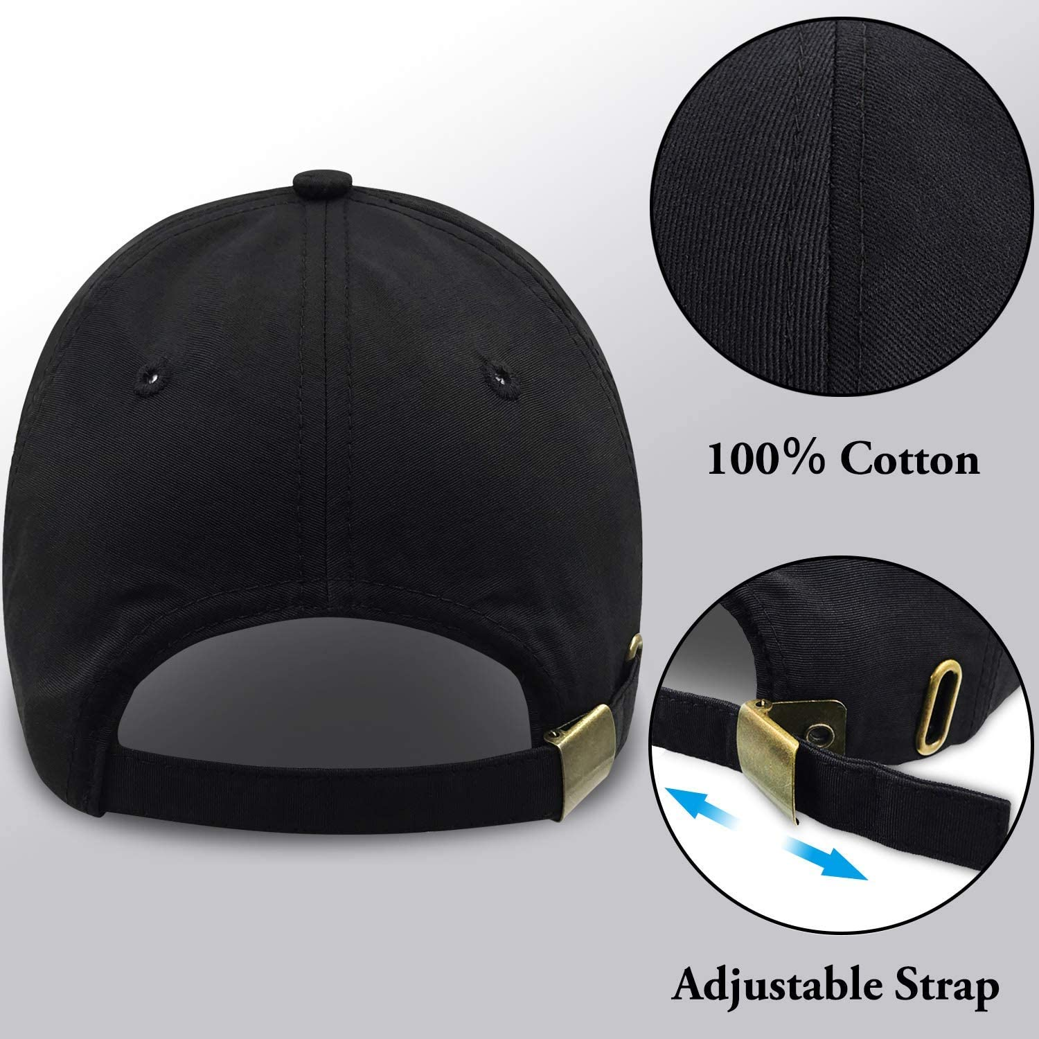 Classic Washed Cotton Hat Baseball Cap Adjustable Plain Sports Youth Ball Hat Black UV-Resistant Outdoor Sports Cap for Men and Women