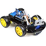 UCTRONICS Smart Bluetooth Robot Car Kit - Board for Arduino UNO R3, Line Tracking, Ultrasonic Sensor, HC-05 Bluetooth, L239D Motor Shield, IR Remote Control, Mobile APP - Charger Included